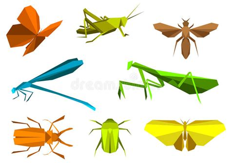 How To Make Origami Insects - insects in origami paper elements stock vector image