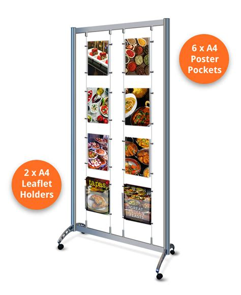 Mobile Display - display stands on wheels a4 portrait with leaflet holders
