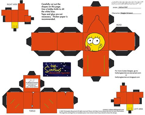 Simpsons Papercraft - x mas16 5 maggie cubee by theflyingdachshund on