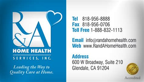 r a home health services business card design business
