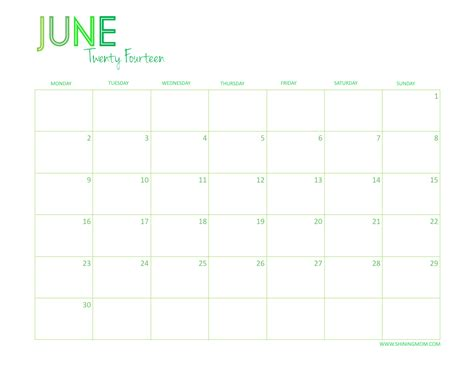 June 2014 Calendar Free Printable 2014 Desktop Calendar