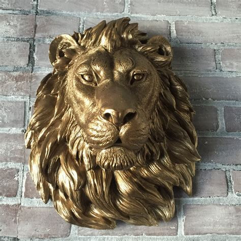 image gallery lion statue home decor any color or bronze large african lion head wall mount