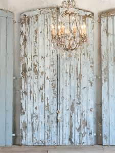 shabby vintage chic chippy blue barn door grey finish