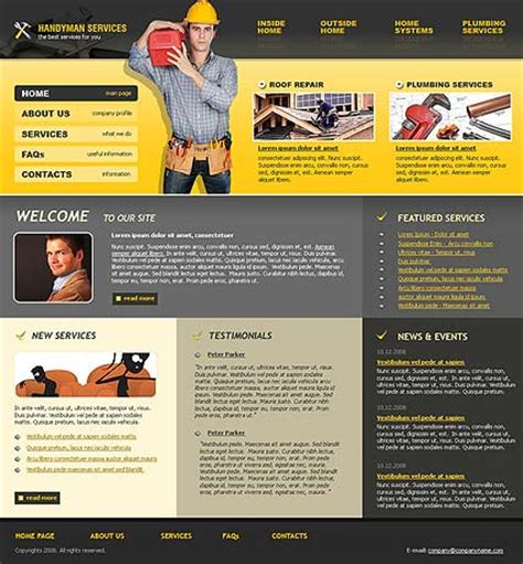 Comparison Of 10 Handy Man Services Website Templates Tonytemplates Customer Review Website Template