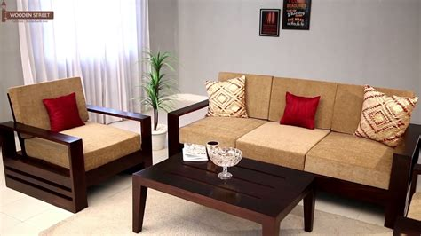 sofa set design wooden wooden sofa set buy winster 3 1 1 seater sofa set online