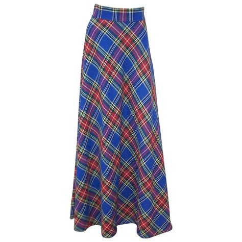 1970 s electric blue wool plaid maxi skirt for sale at 1stdibs