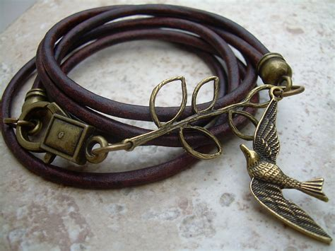 womens antique brown leather bracelet antique bronze
