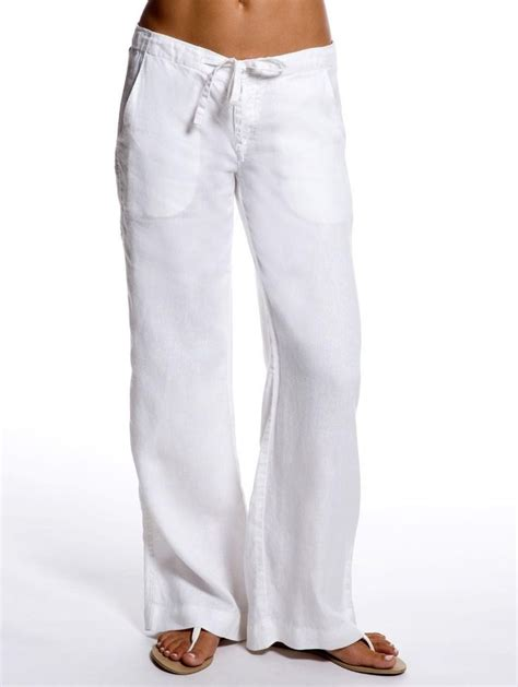 womens white linen pants suit   Pant Olo