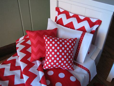 Red Chevron Bedding Set For American Girl Doll Or Similar