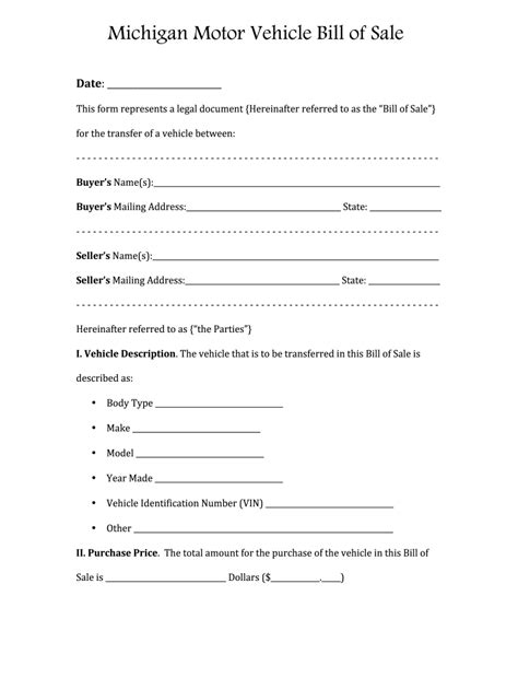 Bill Of Sale Michigan - Fill Online, Printable, Fillable