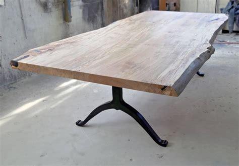 solid live edge maple table on i beam sentient signature ambrosia maple live edge slab table