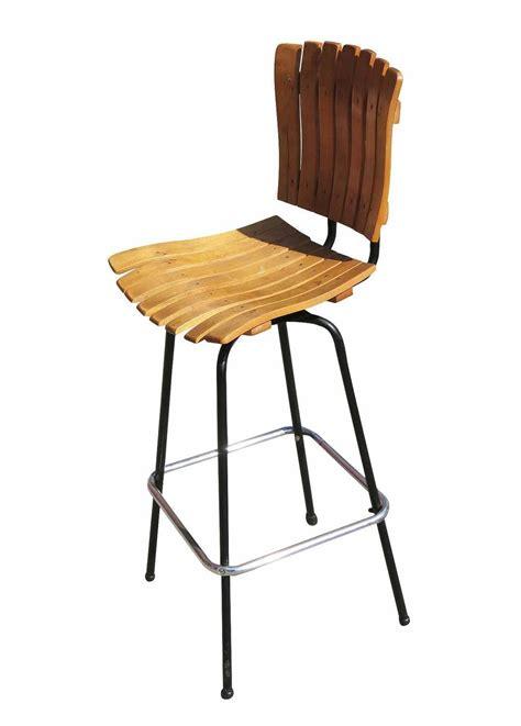 Wood Slat Bar Stools by Arthur Umanoff Style Slat Wood Bar Stools Pair For Sale