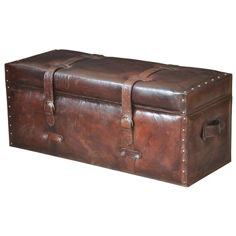storage trunk bench brown laramie leather trunk bench sarreid storage benches
