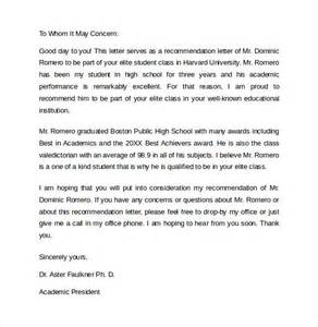 sample recommendation letter formats 15 download