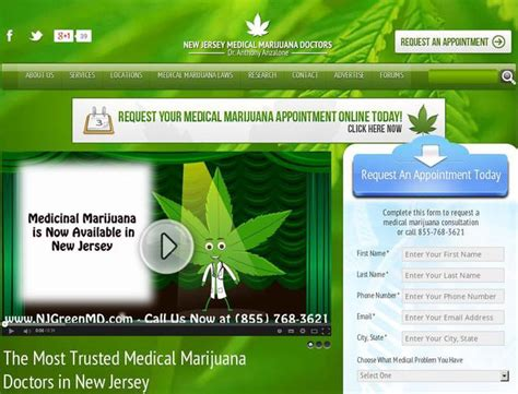 Website Njgreenmd Com Created Using Wordpress Theme New Jersey Medical Marijuana Doctors By New Marijuana Website Templates