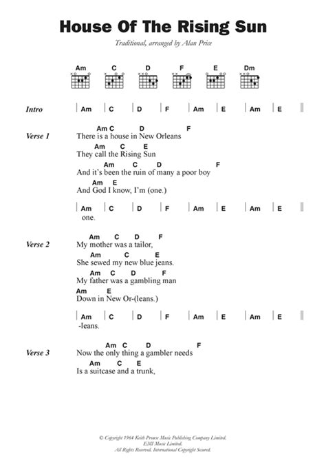 house of the rising sun lyrics the house of the rising sun sheet music by the animals lyrics chords 102720