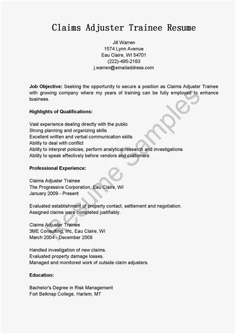 Progressive Insurance Letter Of Experience Resume Sles Claims Adjuster Trainee Resume Sle