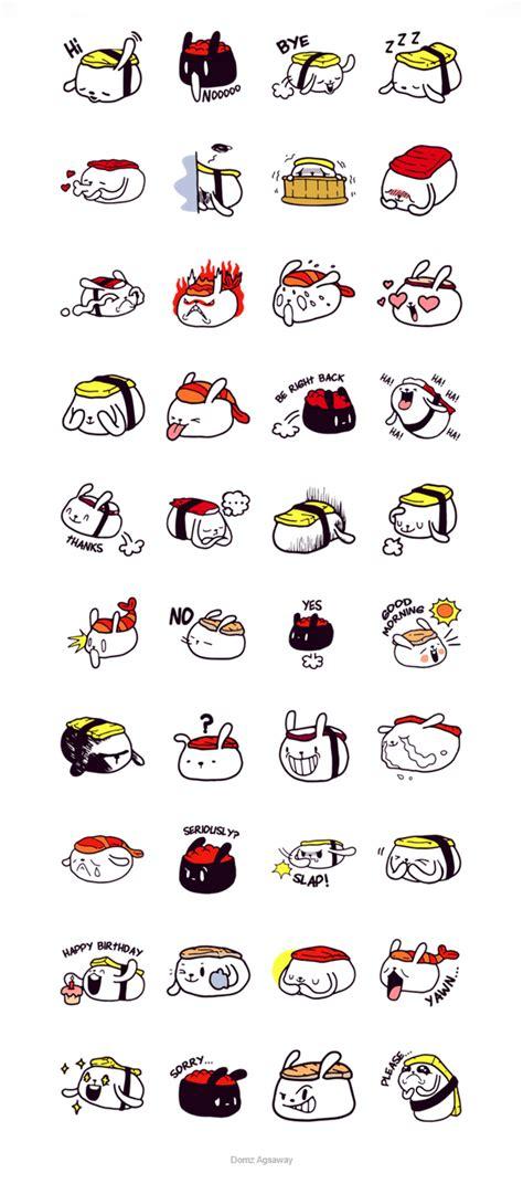 doodle ika lazy sushi bunny line stickers on behance