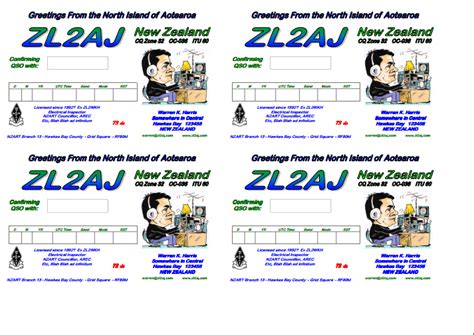 Design Print Your Own Qsls Lee Jennings Amateur Radio Zl2al Qsl Card Template Photoshop