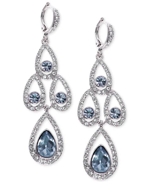 givenchy silver tone and pave chandelier earrings
