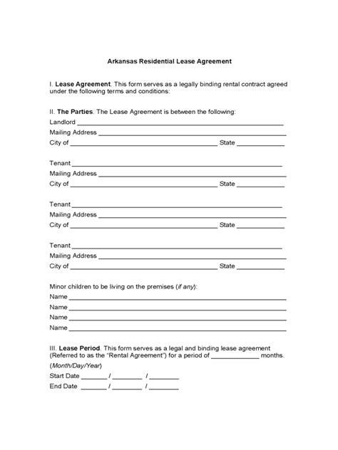 arkansas rent  lease template  templates   word excel  print