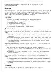 Information Technology Team Leader Sle Resume by Professional Technical Support Team Leader Templates To Showcase Your Talent Myperfectresume