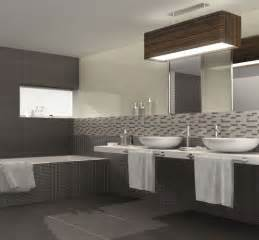 Bathroom design with gray stone tiles flooring modern bathroom