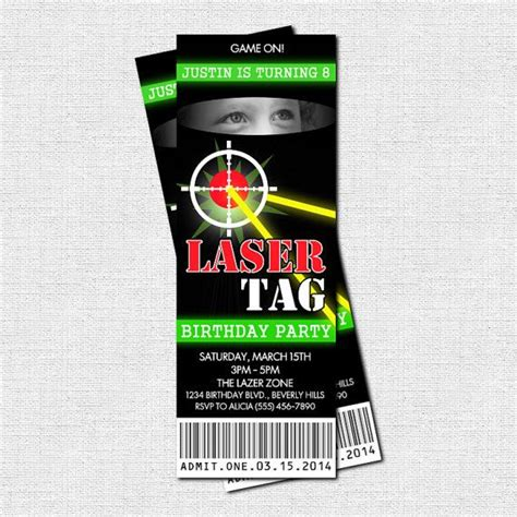 free printable birthday invitations laser tag laser tag birthday party ticket invitation thank you