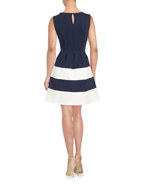 design lab navy dress lyst lord taylor paneled fit and flare dress in blue