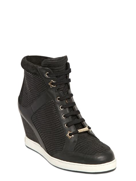 jimmy choo sneakers jimmy choo 90mm leather wedge sneakers in black lyst