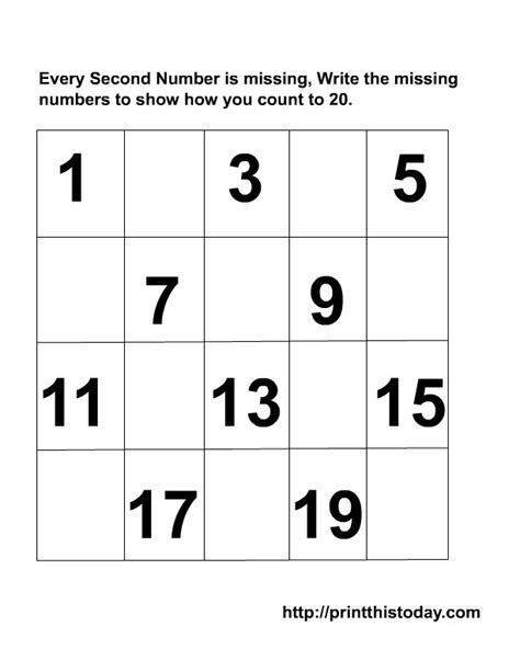 printable missing numbers worksheets kindergarten missing numbers to 20 writing the missing