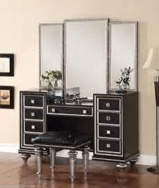 Bedroom Vanity Sets Black Regency Glam Mirrored Console Cabinet Vanity