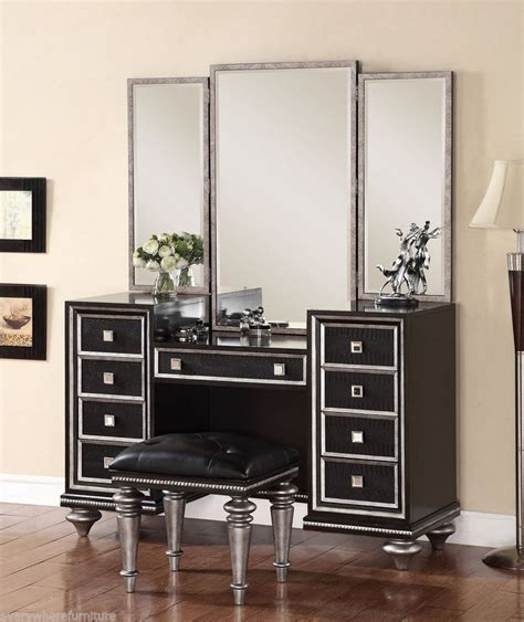 black vanity sets for bedrooms hollywood regency glam mirrored console cabinet vanity