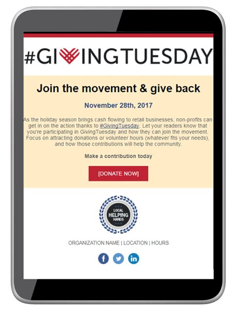 Best Giving Tuesday 2017 Fundraising Caigns Ideas Giving Tuesday Template