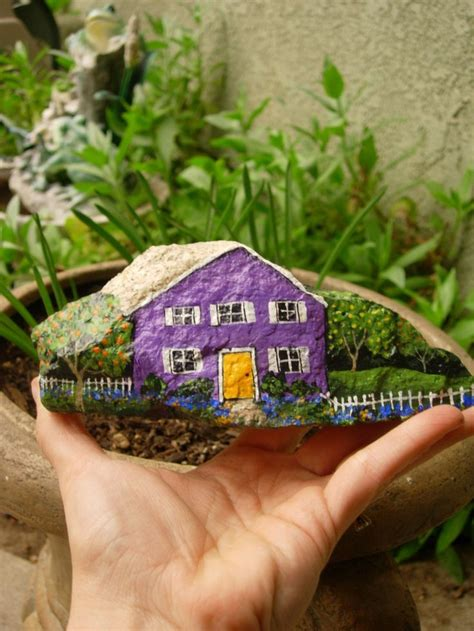 painted rock houses purple house painted rock rock painting pinterest