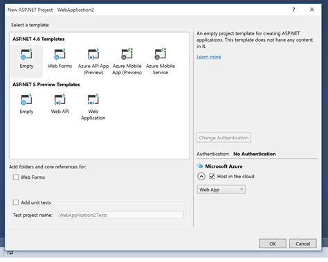 template asp how to create an mvc 5 project in visual studio 2015