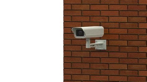 rotating surveillance on brick wall stock footage