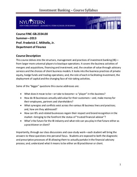 Nyu Mba Investment Letter Pdf investment banking course syllabus nyu summer 2013pdf