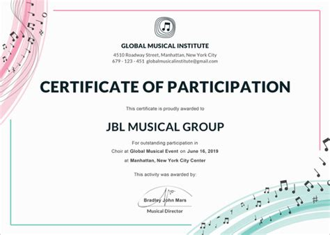 choir certificate template 77 creative custom certificate design templates free