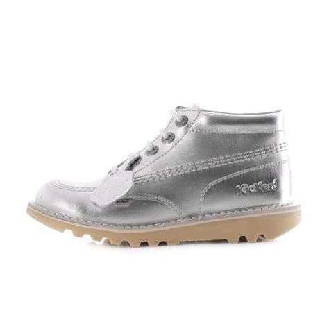 Kickers Boots 03 kickers kick hi junior silver leather