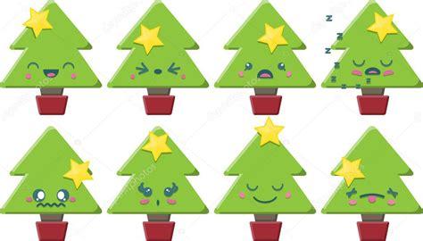 imagenes de arboles de navidad kawaii juego de 225 rbol de navidad dibujos animados kawaii vector