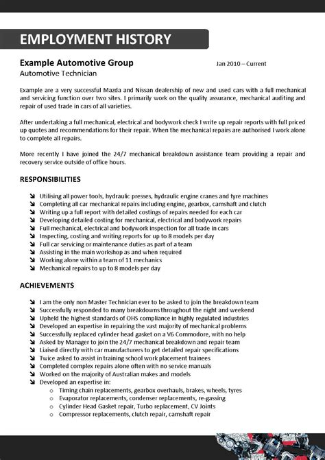 Auto Mechanic Resume Sle by Overseas Aviation Mechanic Sle Resume Information
