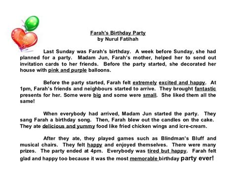 Adjective Essay Exle by Compositions A Birthday Check Out The Adjectives