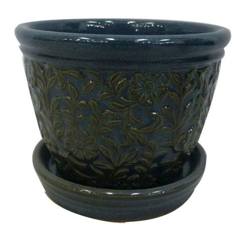 Planter With Saucer by 6 Quot Blue Embossed Floral Planter With Saucer At Menards 174