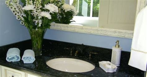 black and emerald pearl granite white cabinets wedgewood blue paint bathrooms jil