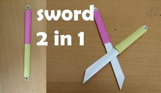 How To Make A Paper Weapons - how to make a paper sword two in one mini