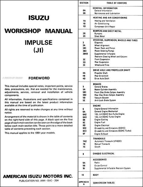 free service manuals online 1993 isuzu stylus instrument cluster service manual 1992 isuzu impulse repair manual free service manual how to adjust ideal on a