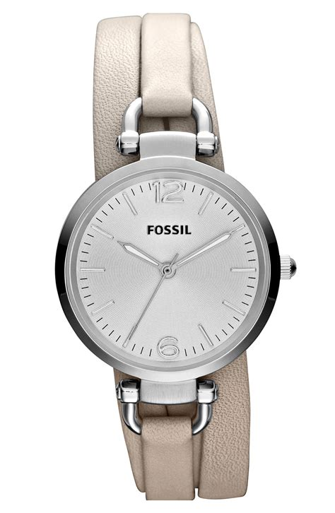 Fossil Geoegia Leather fossil faux wrap leather in white