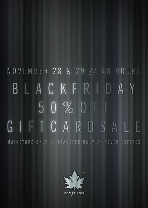 50 Off Gift Cards - black friday 50 off gift cards sale november 28 29 trompe loeil
