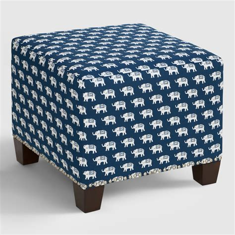 blue upholstered ottoman blue elephant mckenzie upholstered ottoman world market